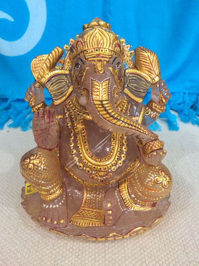 Beautiful Rose Quartz Ganesha - Hand Painted